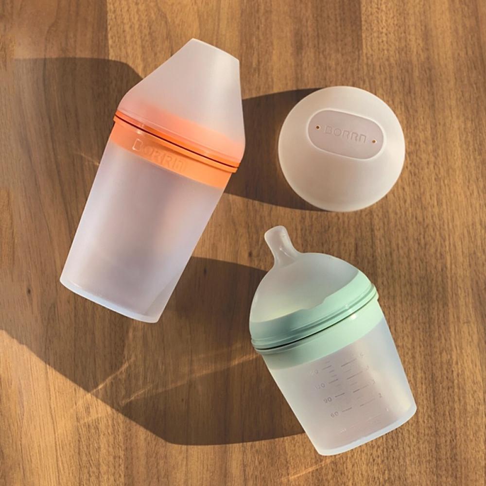 Силиконовая бутылка для кормления Borrn 240 ml Green