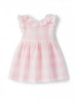 ilGUFO Платье льняное в клетку белого и розового цвета