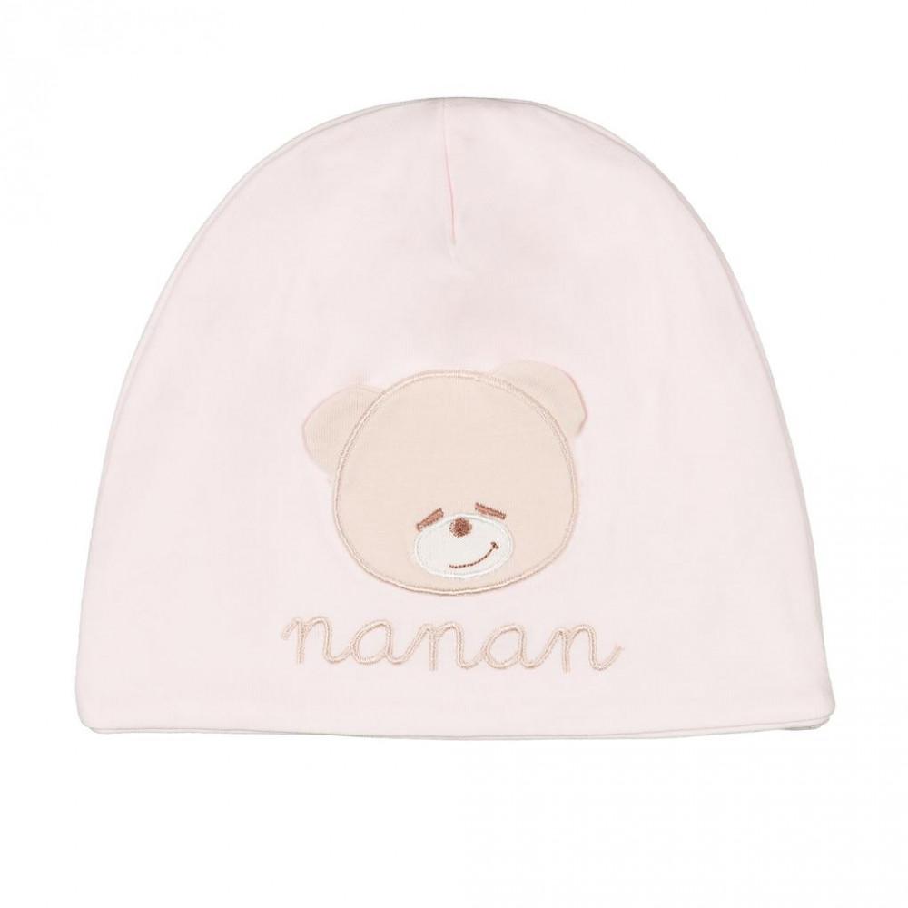 NANAN  Шапочка с мишкой розовая (2)